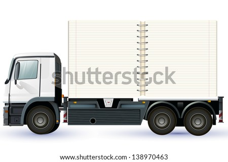 empty lorry or truck with a notebook to place your concept - stock vector