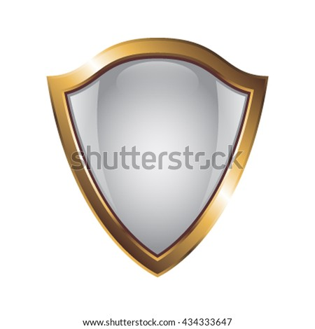 Empty metal shield  icon for web isolated on white background - stock vector