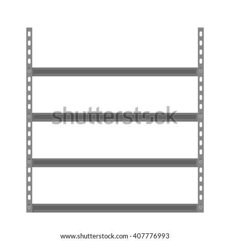 Empty metallic storage shelves. Storage Flat design. Storage Vector illustration. Warehouse storage icon isolated on white background - stock vector