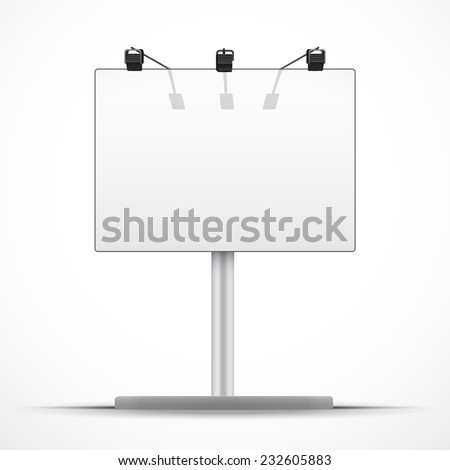 Empty mockup billboard with spotlights and day light. A4 format. Vector Illustration isolated on white background. - stock vector