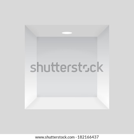Empty niche in the wall with lights, to display various items. vector - stock vector