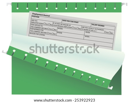 Empty office form the desired work in the archive folder. Vector illustration. - stock vector
