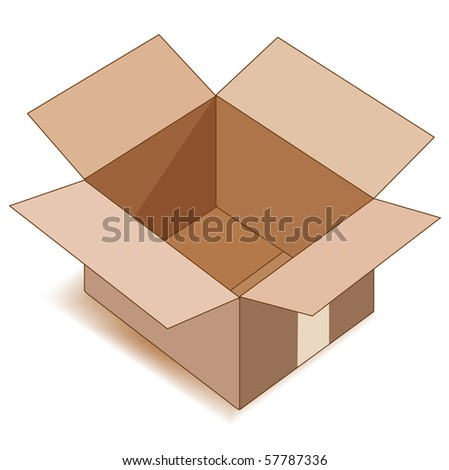 Empty open paper box over white. Vector illustration. - stock vector