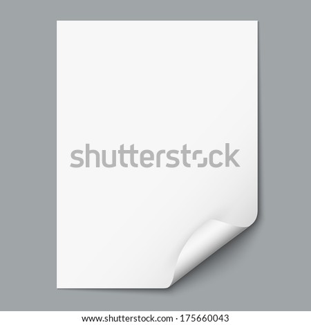 Empty paper sheet with curled corner. Vector EPS10 - stock vector