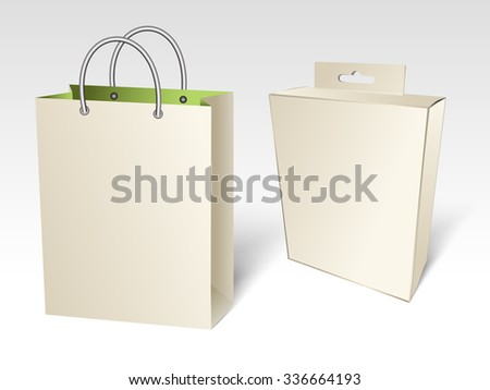 Empty paper shopping bag with a box - stock vector