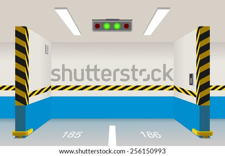 Empty parking lot area. Vector illustration - stock vector