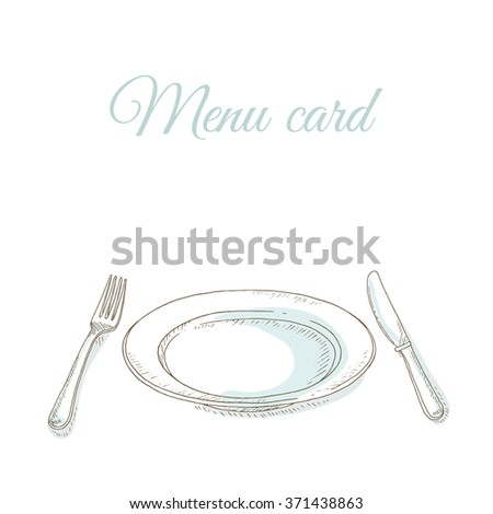 Empty plate, fork and knife. Tableware. Invitation to dinner party. Restaurant menu cover card. Dishes set. Dinnerware: plate, fork, knife. Kitchenware and cutlery hand dawn illustration. Sketch - stock vector