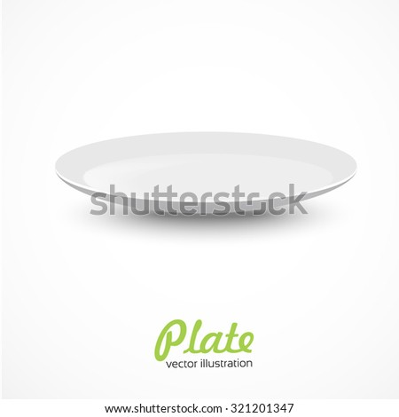 Empty plate isolated on white background. - stock vector