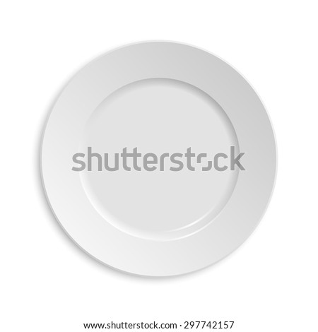 Empty plate. Isolated on white background. View from above. Vector EPS10 illustration.  - stock vector