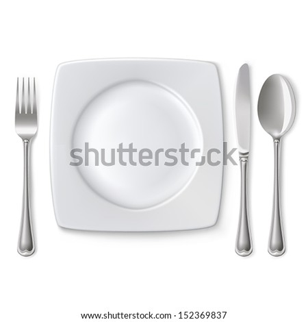 Empty plate with spoon, knife and fork on a white background. Mesh. Clipping Mask. - stock vector