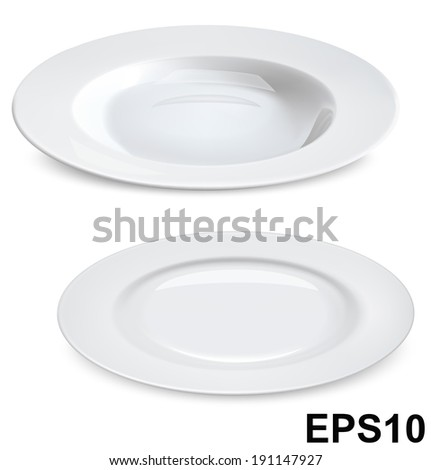 Empty plates isolated on white. Vector illustration - stock vector