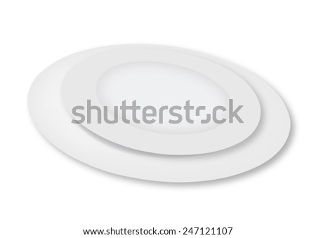 Empty plates on a white background - vector - stock vector