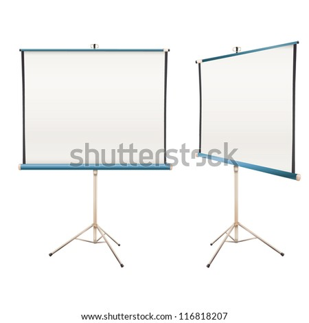 Empty projector screen Isolated on white. Vector design. - stock vector