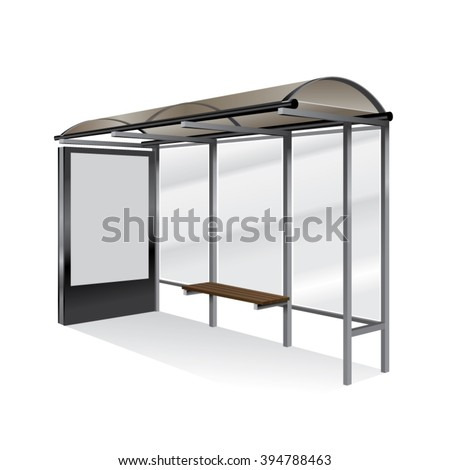 Empty realistic bus stop with blank billboard isolated. - stock vector