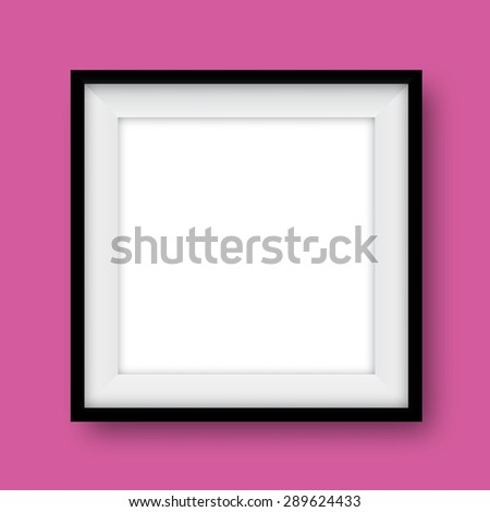 Empty realistic photo frame for business and design with transparent vector shadows. Vector template, mock up isolated on bright pink background.  - stock vector
