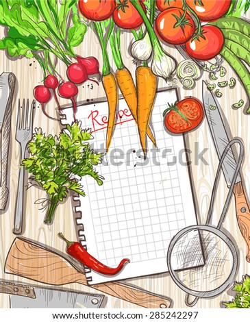 Empty recipe list with place for text with healthy organic vegetables and kitchen utensil on a wooden table background, Eps10. - stock vector