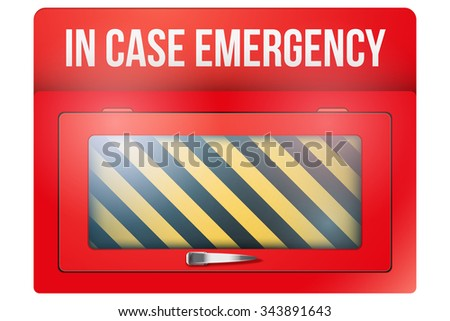 Empty red emergency box with in case of emergency breakable glass. Vector illustration Isolated on white background. Emergency case, emergency box, paramedic box, briefcase, firstaid. - stock vector