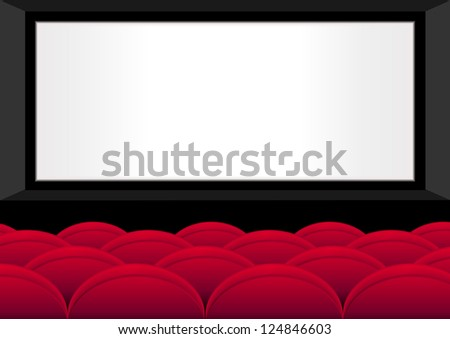 Empty red seats in a movie theater with a white screen, vector - stock vector