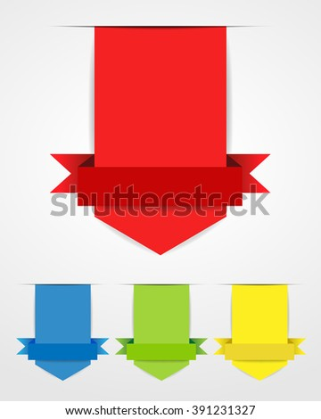 Empty red tag with shadow. A set of four colored Label on white background. - stock vector