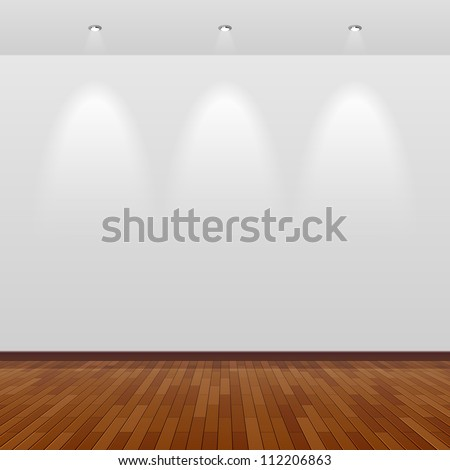 Empty room with white wall and wooden floor. Vector. - stock vector