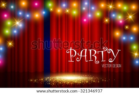 Empty scene with spotlight,colorful light flashes & red stage curtain. Vector illustration - stock vector
