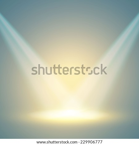Empty scene with spotlights. Vector illustration - stock vector