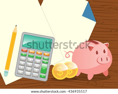 empty sheets, calculator with piggy bank. plan saving and financial analysis with copy space - stock vector
