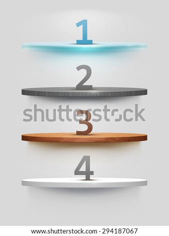Empty shelf on the wall, illuminated by searchlights. Part of set. Vector interior. - stock vector