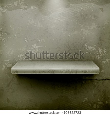 Empty shelf, vector vintage background - stock vector
