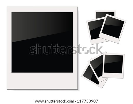 Empty shiny photo Polaroid. Isolated on white background. Vector illustration. Set - stock vector