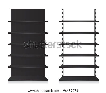 Empty shop shelves black - stock vector