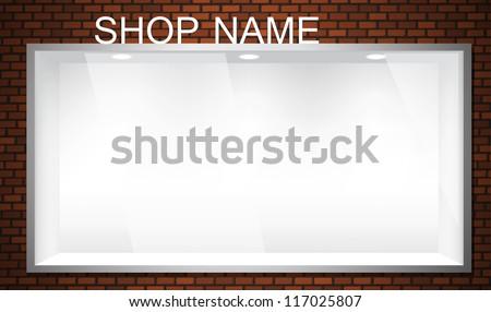 Empty shop window showcase. EPS10 vector storefront. - stock vector