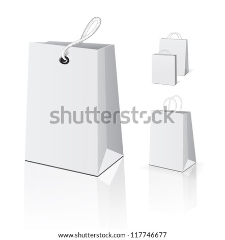 Empty Shopping Bag set on white for advertising and branding - stock vector