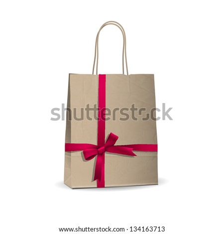 Empty shopping brown bag with  tied pink ribbon. Vector illustration - stock vector