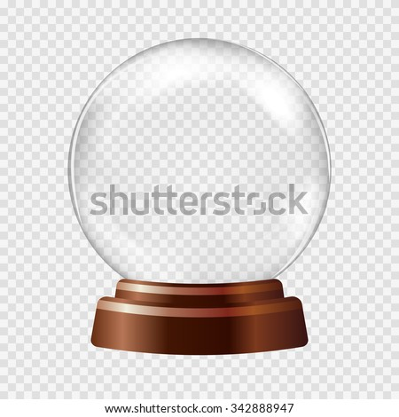 Empty Snow Globe. Big white transparent glass sphere on a stand with glares and highlights. Vector illustration contains gradients and effects. Winter christmas background for your design and business - stock vector