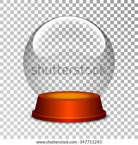 Empty snow globe. Christmas snow globe. Glass sphere. Transparent ball. Realistic vector. 3d vector. Vector illustration. - stock vector
