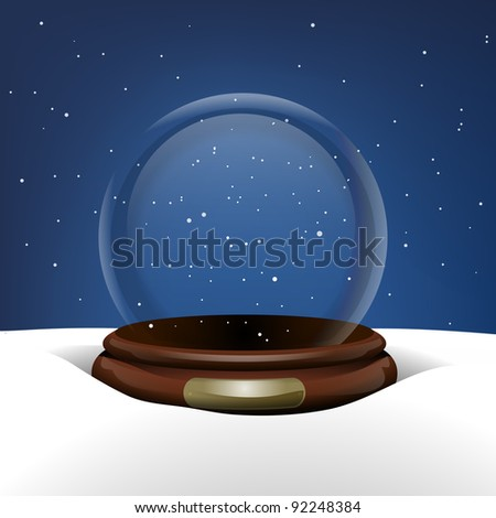 Empty Snow Globe in Snow - stock vector