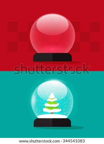 Empty snow globe vector illustration, snowglobe snowdrift, snowfall, christmas snow globes fir trees, new year tree, flat modern design isolated. Transparent. Clipping mask included - stock vector