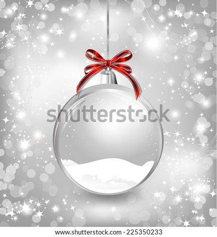 Empty snow-globe with red bow. Vector - stock vector