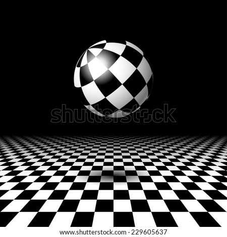 Empty space with checkered floor and ball - stock vector
