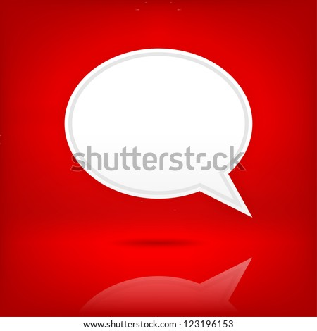Empty speech bubble icon. Satin blank shape with black shadow and transparent reflection on dark red background. White web button chat room sign. Clip-art vector illustration element for design 10 eps - stock vector