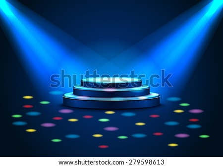 Empty stage with spotlights on stage with blue light and color rainbow - stock vector