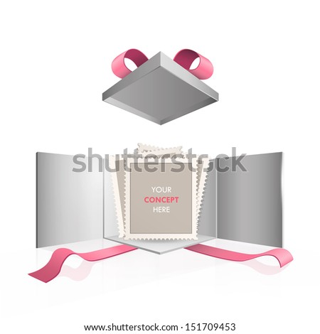 Empty stamp inside gift box. Vector design.  - stock vector