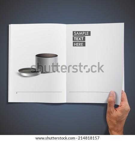 Empty steel box printed on book - stock vector