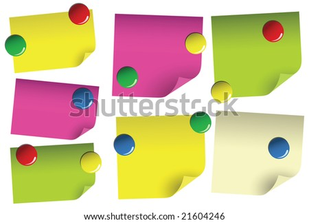 Empty sticky paper blanks with magnets - stock vector