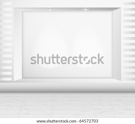 Empty storefront with back light. Vector. - stock vector