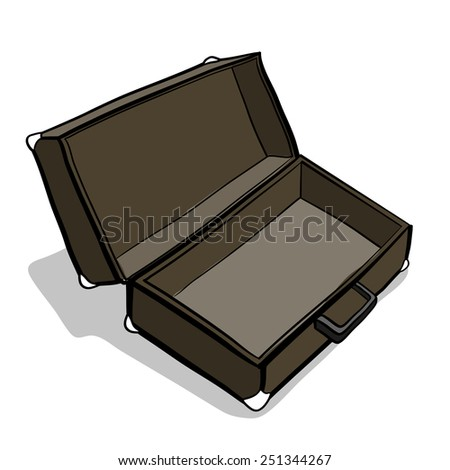 Empty suitcase. A children's sketch..Color image - stock vector