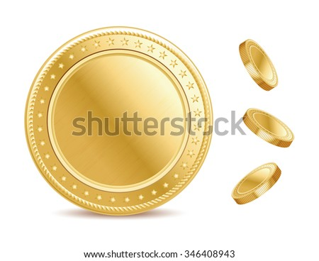 Empty surface of the golden finance isolated coin on the white background. - stock vector