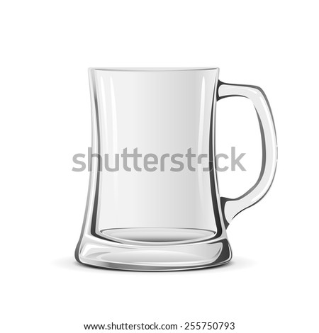 Empty transparent beer mug isolated on white background, illustration. - stock vector