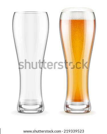 Empty transparent glass and full glass of beer with white froth. Eps10 vector illustration. Isolated on white background - stock vector